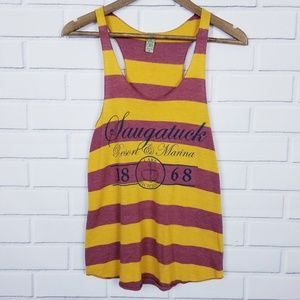 Red Yellow Striped Racer-back Tank Top medium